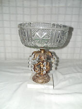 Vintage glass w/, brass center piece bowl compote w/marble base cerub & dolphin