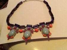 Ladies Purple Mint Green Multicolored Faux Stone String Necklace