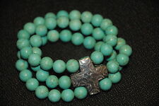 "SILPADA - B3009 - Howlite Sterling Silver Cross ""Good Graces"" Bracelet - NIB!"