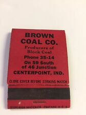 Centerpoint  Indiana Brown Coal Co. Matchbook Cover FS