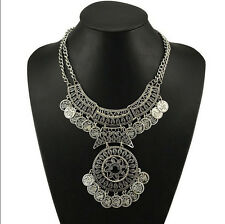Boho Gypsy Tribal Silver Festival Turkish Coin Collar Statement Necklace Pendant