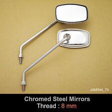 Honda CL50 CL70 CL90 S90 Super 90 Benly 8mm Chrome Steel Metal Mirror Rectangle
