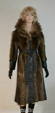 VTG Genuine RACCOON FUR and BROWN LEATHER COAT, S - M, Boho Style 80's