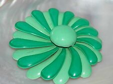Estate Large Light & Dark Green Enamel Layered Asymmetric Swirl FLOWER Power Pin
