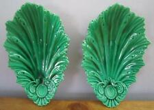 """2 Rare Antique Green Majolica Matching Acanthus Leaf Dishes Serving Plates 8.75"""""""