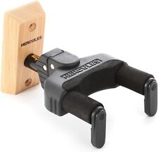 Hercules Wall Mount Locking Guitar Hanger Black With Wood Wall Plate
