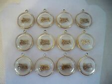 VTG (12) Lucite JESUS SAVES White & Clear Gold Tone Charms Pendants Religious