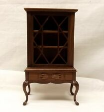 Vtg Sonia Messer Dollhouse China Cabinet Hutch Walnut Wood Miniature Queen Anne