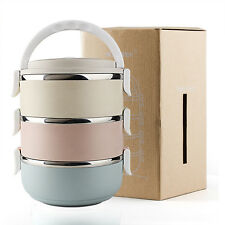 3 Tier Stainless Steel Metal Bento Lunch Box Insulated Thermal Food Containers
