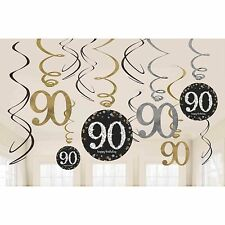 12 x 90th Birthday Hanging Swirls Black Silver Gold Party Decorations Age 90
