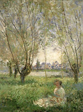Stunning Oil painting Monet - Woman Seated under the Willows in summer landscape
