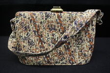 VINTAGE Spot-Lite L&M Cloth Purse, Multi-Colored W/Floral Desgin & Wood Closure
