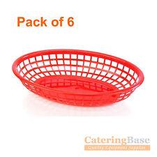 Confezione da 6 rosso classico ovale ristorazione PLASTICA CESTO FAST FOOD lato ordine Chip
