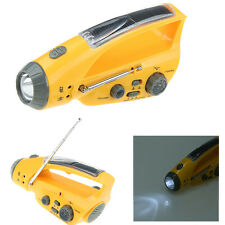 Hand Crank Dynamo Solar Self-Powered AM/FM Radio Flashlight Mobile Phone Charger