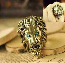 Vintage Europestyle Green Crystal Eye Intrepid Lion Ring Unique Ring Danger top