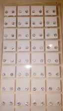 Joblot of 36 Pairs 4mm Cubic Zarconia clear colour Round stud Earrings wholesale