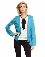 NEW JUICY COUTURE BLUE POET SLEEVE CARDIGAN SWEATER SZ S SMALL