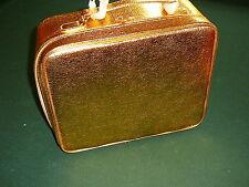 Estee Lauder Gold Cosmetic Bag, TRAIN CASE Soft Side Travel Bag + Mirror 3pc Set