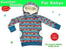 Kuschel-Hoodie/Kapuzenpulli für Babys nähen, Schnittmuster und Nähanleitung