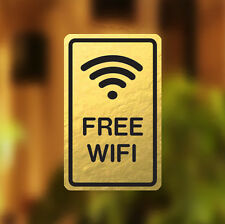 Free WIFI Gold Luxury Premium Window Door Sign  Sticker Cafe Shop Bar Restaurant