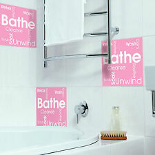 Tile Stickers Transfers for Bathroom and Furniture DIY Bathe Word Cloud Montage
