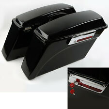 Black Hard Saddlebags Saddle bag For Harley HD Touring 94-13 Road King Glide ABS