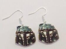 Star Wars Boba Fett Mask Bounty Hunter Sith Earrings HANDMADE PLASTIC CHARMS