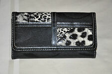 Womens Black Microfiber Patchwork Checkbook Wallet