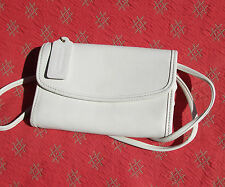 Vintage COACH White Leather Crossbody Snap Wallet Purse with Keyring