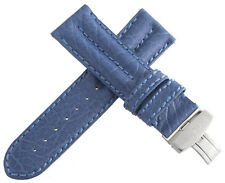 IceLink Mens 26mm Blue Leather Watch Band Strap W/ Stainless Steel Buckle