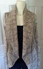 New INC Tan Acrylic Blend Pointelle Open Front Cardigan Sweater, X-Large