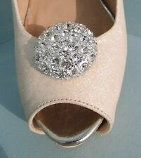 2 Silver Diamante Button Clips for Shoes