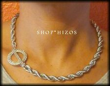 "GOLD or SILVER 3MM THICK PAVE CRYSTAL RING ROPE CHAIN 16"" TOGGLE NECKLACE NEW"