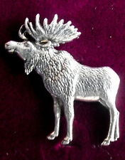 Quality Pewter Hunting Moose Elk Brooch Pin