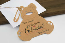 Will you be my Godmother Teddy Bear Card Tag