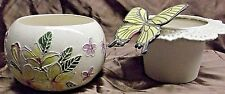 Handpainted African Violet Pot Plumeria and Butterflies.