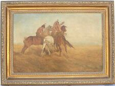 19th Century Western Painting Unsigned in the Manner of Remington or Schreyvogel