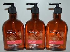 3 BATH & BODY WORKS AROMATHERAPY ENERGY ORANGE GINGER HAND SOAP ESSENTIAL OILS