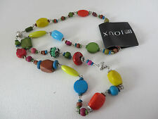 BOHEMIAN BOHO HIPPY MULTI COLOUR & SHAPE WOOD & RESIN BEAD NECKLACE New pouch