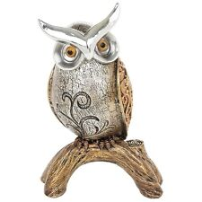 Stunning Silver & Gold Owl On A Branch Ornament/Figurine Beautiful Gift - 14cm