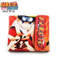 NEW RED Naruto Anime Cosplay Kid PU Leather Tri Fold Wallet