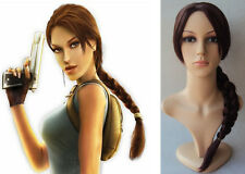 Deluxe lungo marrone intrecciato PONY TAIL LARA CROFT TOMB RAIDER Costume Parrucca
