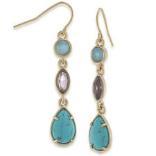CAROLEE New York 'California Girl' Turquoise Blue Gold-Tone Linear Drop Earrings