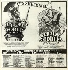 "19/6/82PGN14 MEL BROOKS MOVIES ADVERT 7X7"" BLAZING SADDLES/HISTORY OF THE WORLD"
