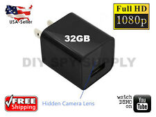 1080p USB Charger 32GB Hidden Spy Camera . AC Adapter Phone Charger Nanny Camera