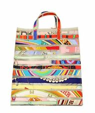 HERMES 2004 NWT Colorful Silk Strip & Polyurethane LE CAS DU SAC GM Tote Bag