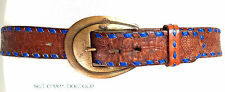 Vintage 70s Brown Leather Belt 36 38 Western TOOLED PAINTED Stitch BRASS Buckle