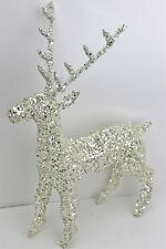 GISELA GRAHAM CHRISTMAS WHITE WIRE /SILVER GLITTER REINDEER ORNAMENT SMALL