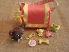 Littlest Pet Shop #219 Dog Chihuahua Brown Carrier & Travel  Lot LPS B2