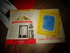 Ancien Dépliant Publicitaire Aspirateur ELECTRO-LUX EPOQUE 1939